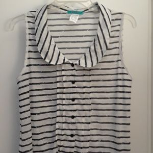 Size L Sheer Striped Sleeveless Top NWOT